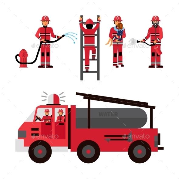 Firefighter Decorative Icons Set - Decorative Symbols Decorative