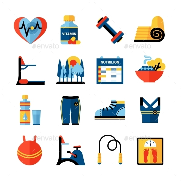 Fitness Flat Color Icons Set  - Decorative Symbols Decorative