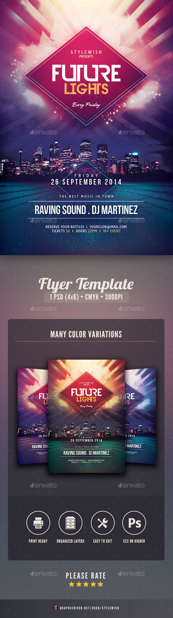 Future Lights Flyer - Clubs & Parties Events