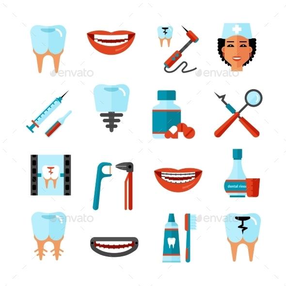 Dental Care Icon Set - Decorative Symbols Decorative