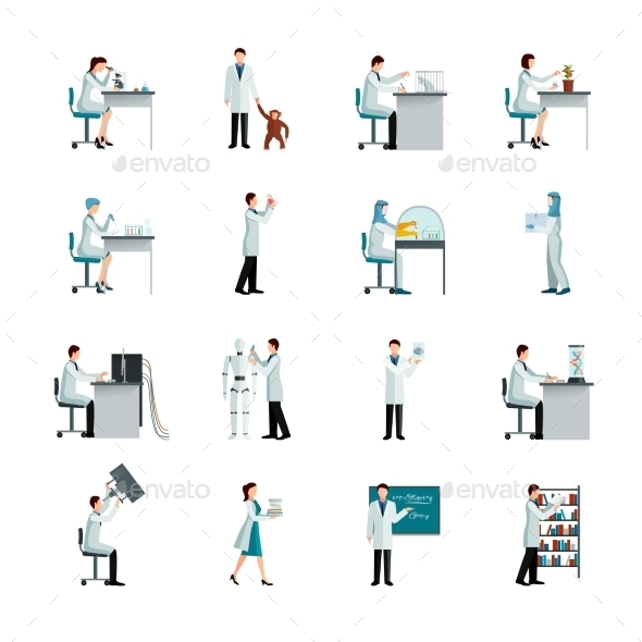 Scientist Decorative Icons Set - Decorative Symbols Decorative