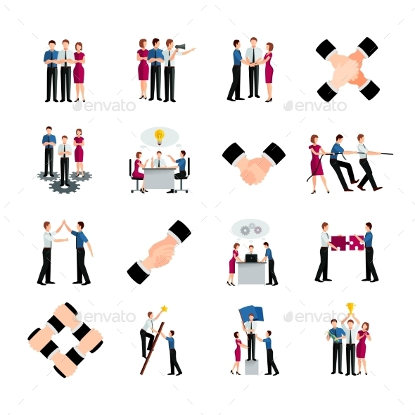 Flat Color Teamwork Icons Set - Decorative Symbols Decorative