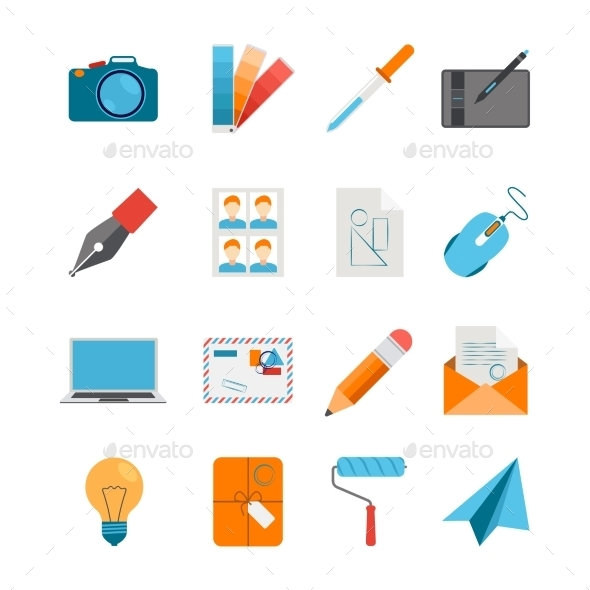 Flat Icons Set For Web And Graphic Design - Decorative Symbols Decorative