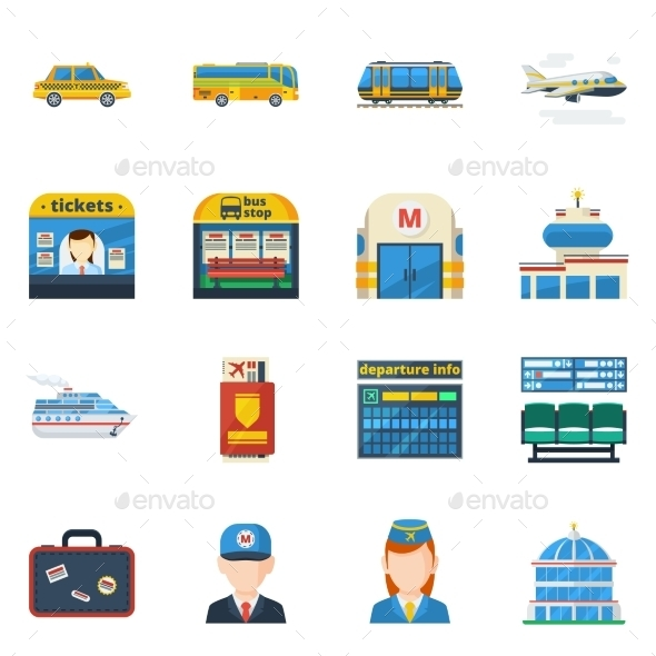 Passenger Transportation Flat Icons  - Objects Icons