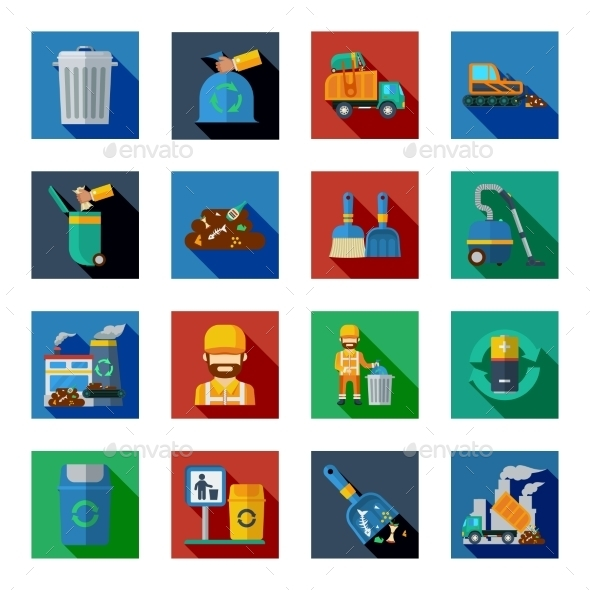 Disposal Of Waste Colorful Square Icons - Man-made objects Objects