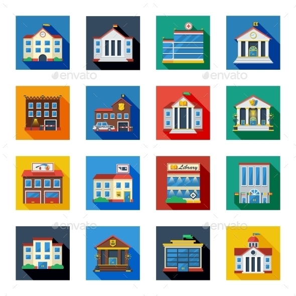 Government Buildings Icons In Colorful Squares - Buildings Objects