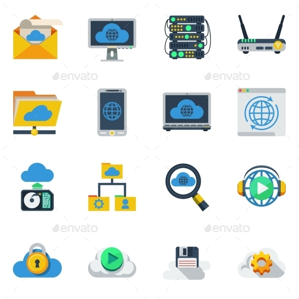 Cloud Service Flat Color Icons  - Decorative Symbols Decorative