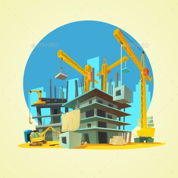 Construction Cartoon Illustration  - Industries Business
