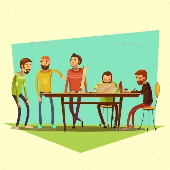 Coworking And People Illustration  - Concepts Business