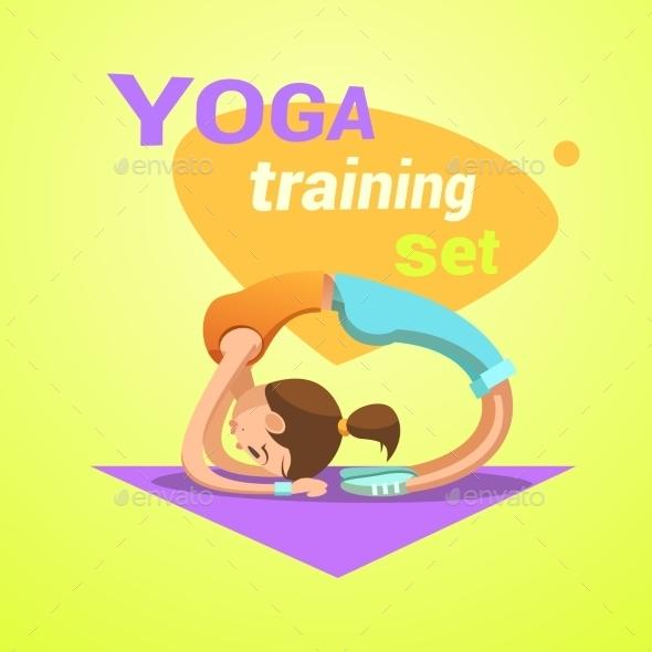 Yoga Retro Cartoon - Sports/Activity Conceptual
