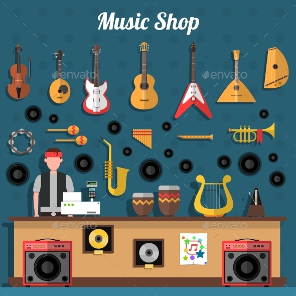 Music Shop Illustration  - Retail Commercial / Shopping