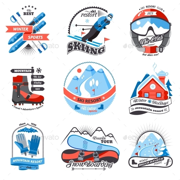 Ski Resort Emblems Set - Seasons/Holidays Conceptual