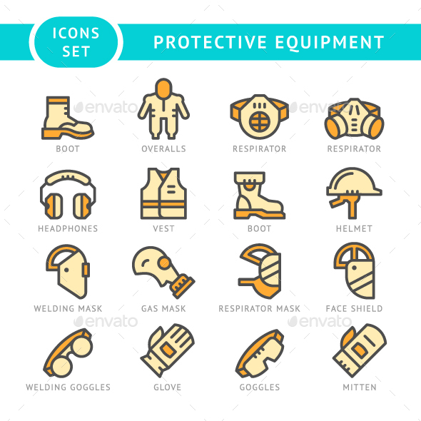 Set Line Icons of Protecting Equipment - Man-made objects Objects
