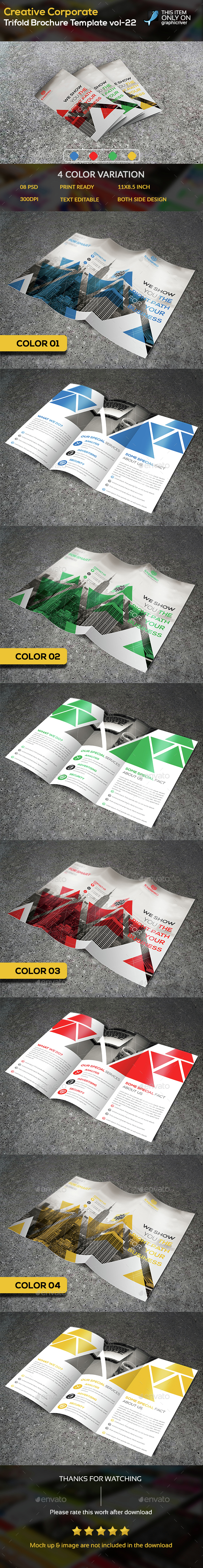 Creative Corporate Trifold Brochure Template -22 - Brochures Print Templates