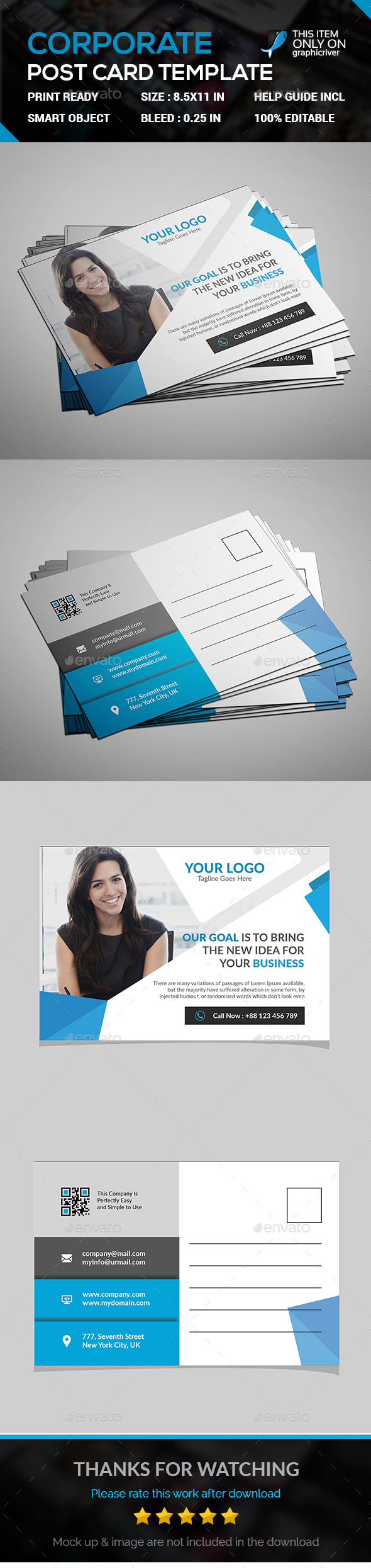 Corporate Post Card Templates - Cards & Invites Print Templates