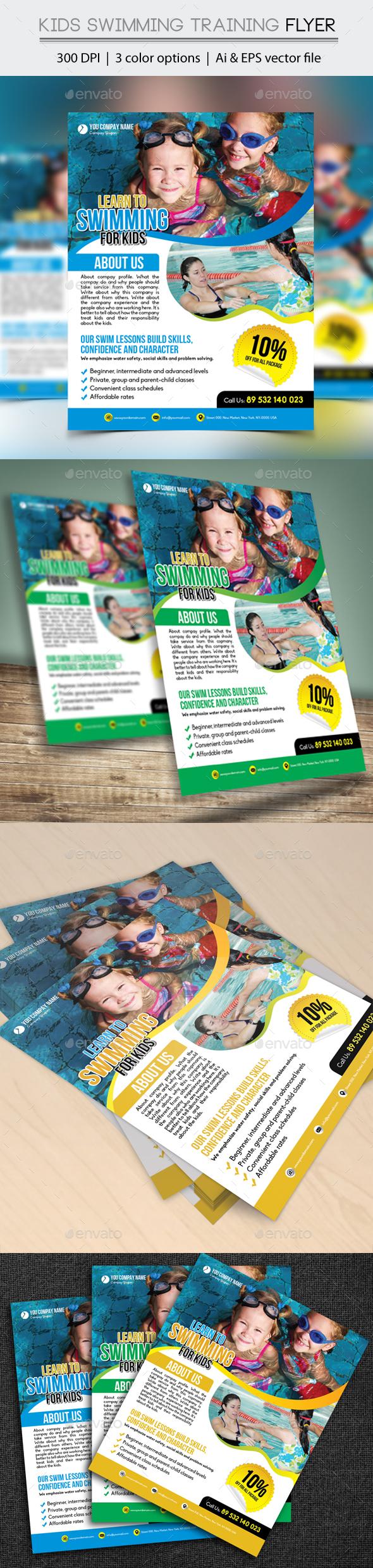 Kids Swimming Training Flyer - Flyers Print Templates
