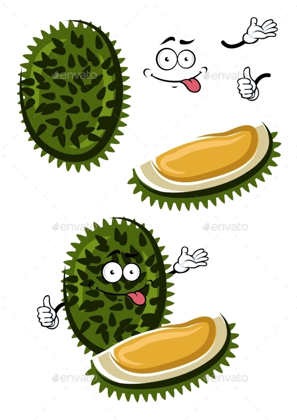 Tropical Smelly Cartoon Durian Fruit  - Food Objects