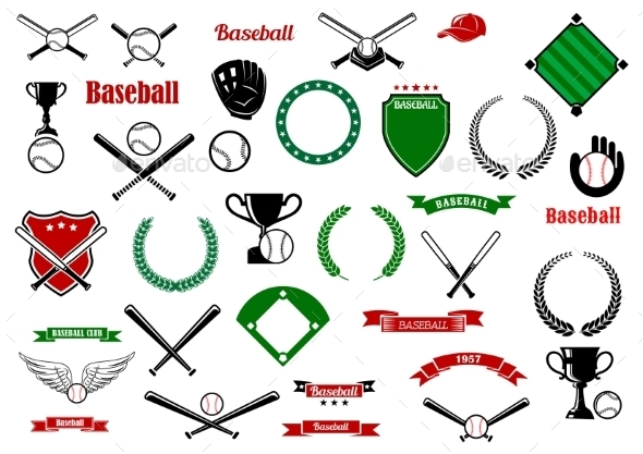 Baseball Game Sport Items And Designelements - Sports/Activity Conceptual