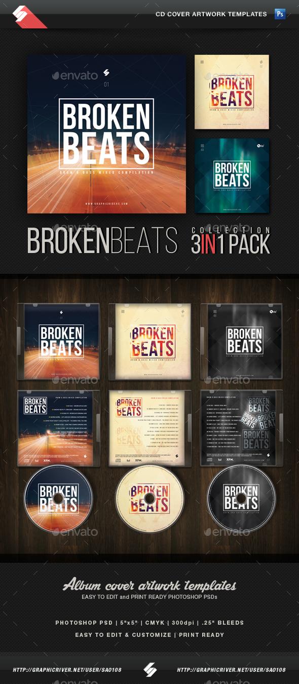 Broken Beats - CD Cover Artwork Templates Bundle - CD & DVD Artwork Print Templates