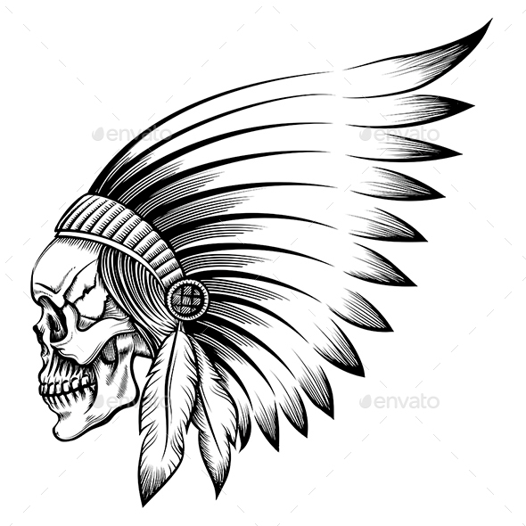 Indian Skull Emblem - Tattoos Vectors