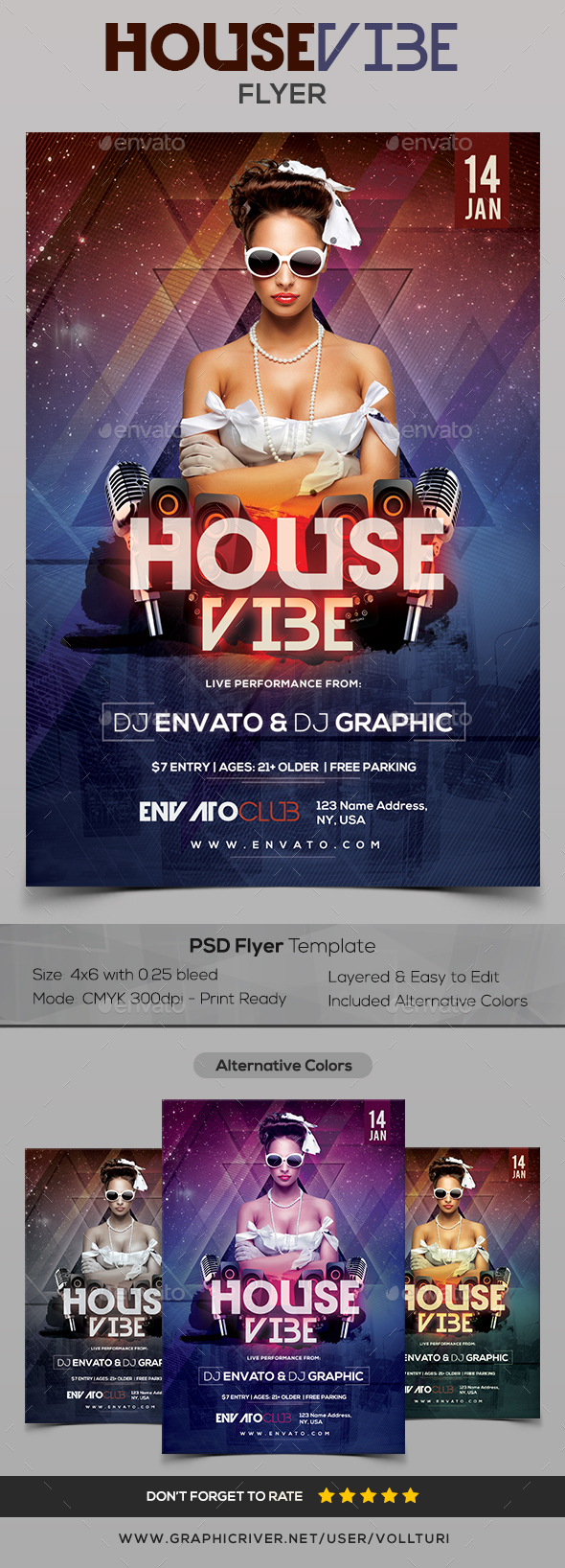 House Vibe - PSD Flyer - Clubs & Parties Events