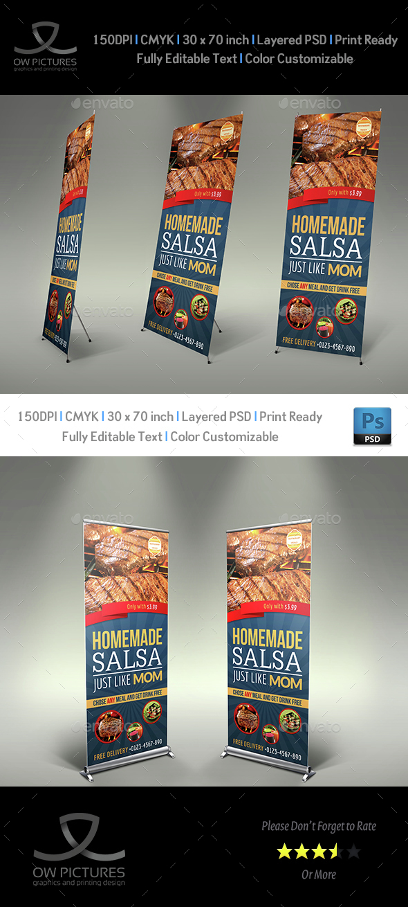 Restaurant  Rollup Signage Banner Template Vol.4 - Signage Print Templates