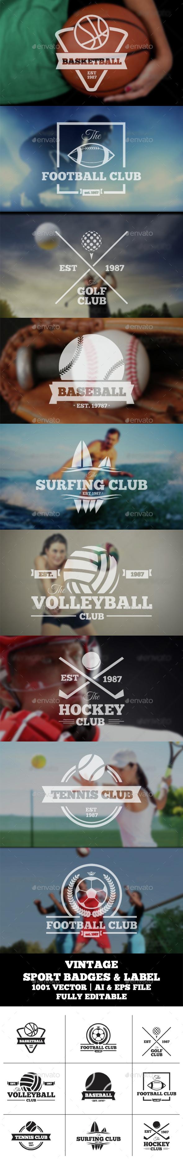 Vintage Sports Badge & Label - Badges & Stickers Web Elements