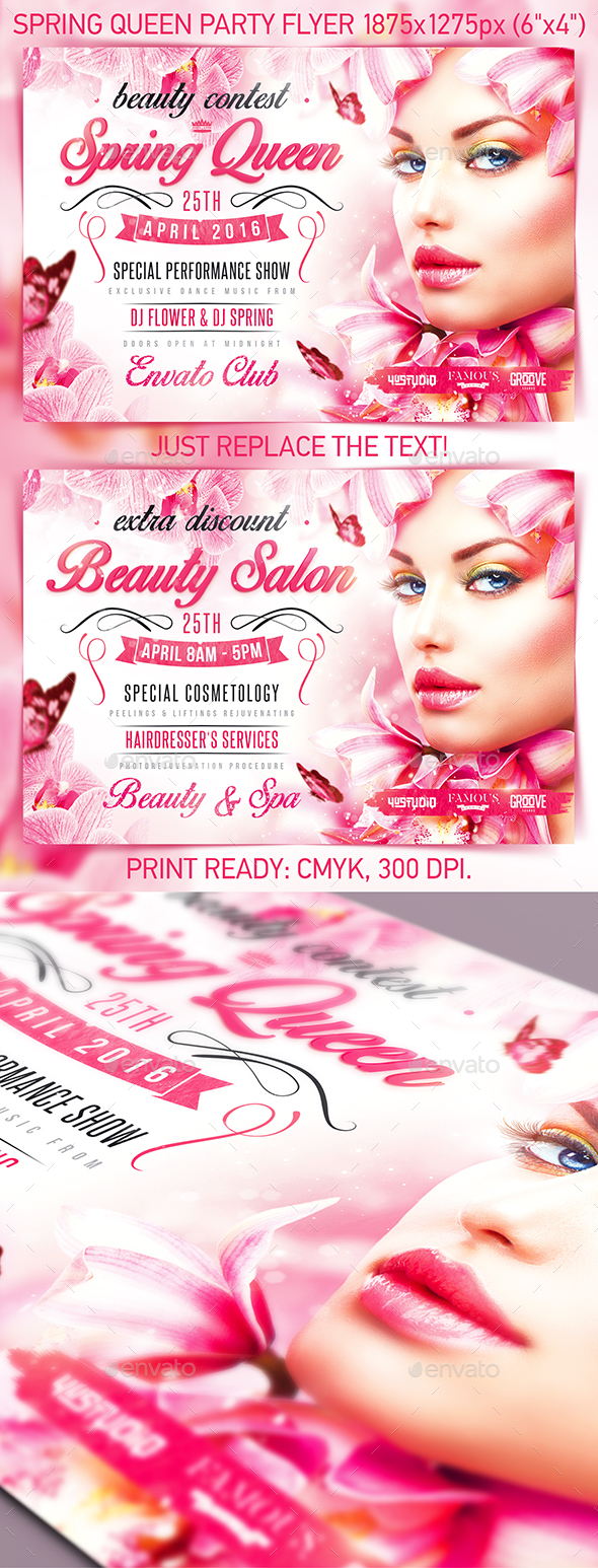 Spring Queen Party Flyer - Events Flyers