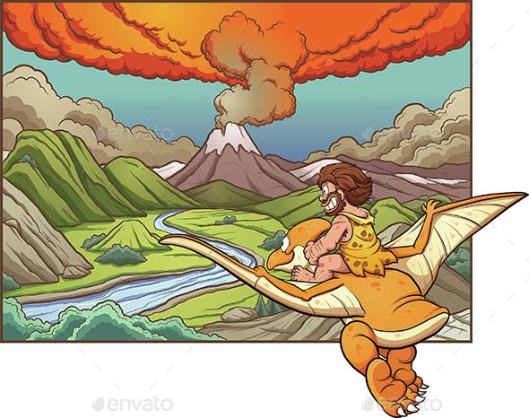 Cartoon Caveman - Landscapes Nature