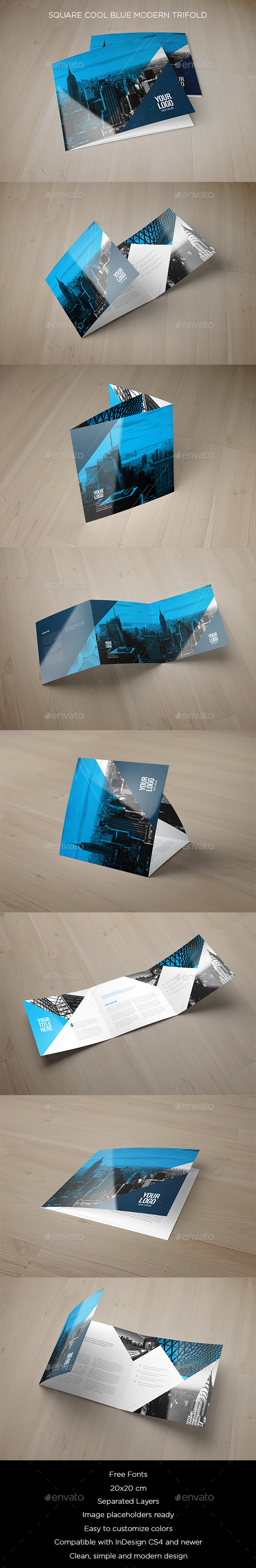 Square Cool Blue Modern Trifold - Brochures Print Templates