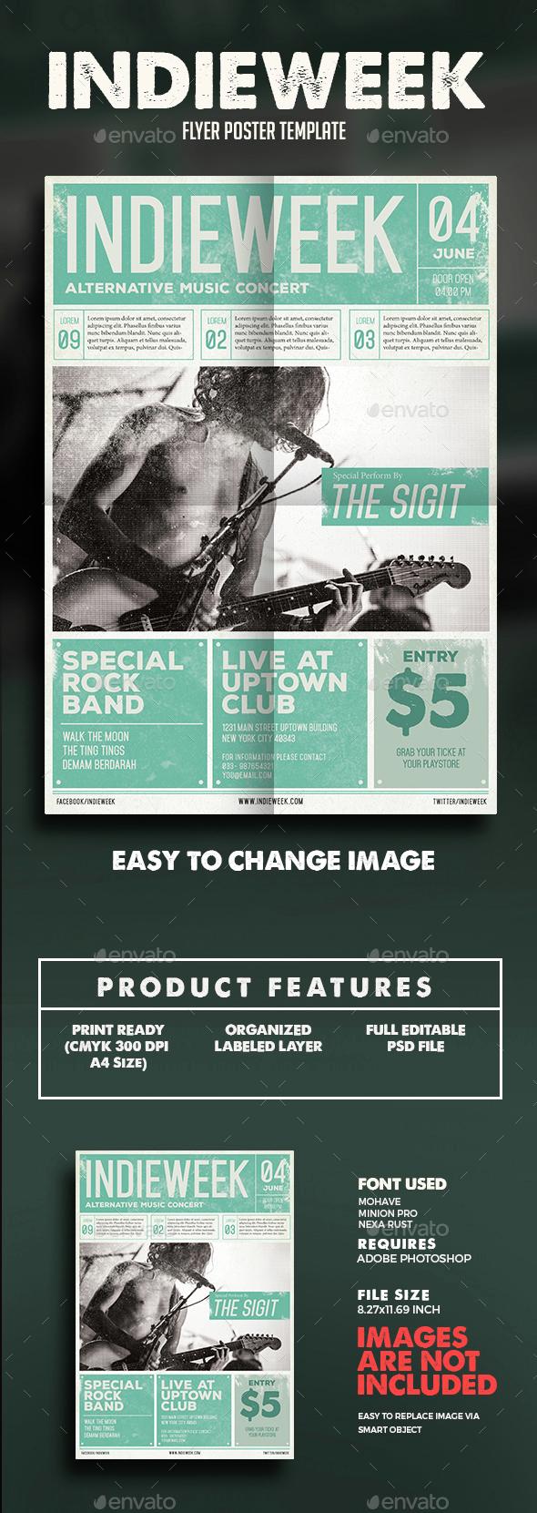 Indie Week Newspaper Flyer - Events Flyers