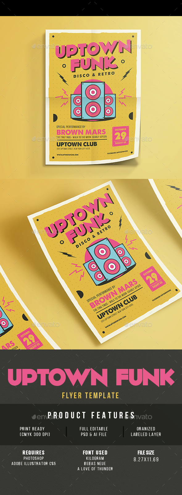 Uptown Funk Music Party - Events Flyers