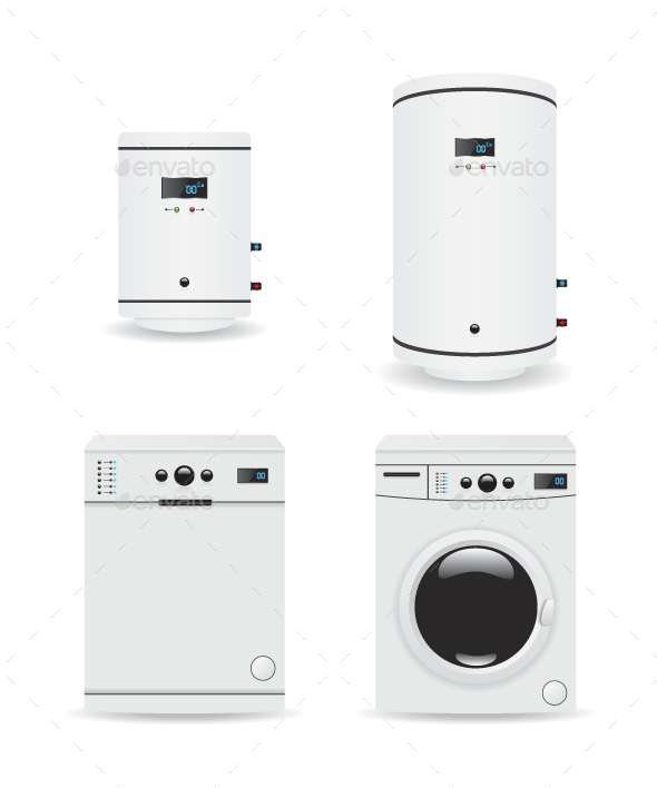 Set of Household Appliances  Boiler and Washing Machine - Technology Conceptual
