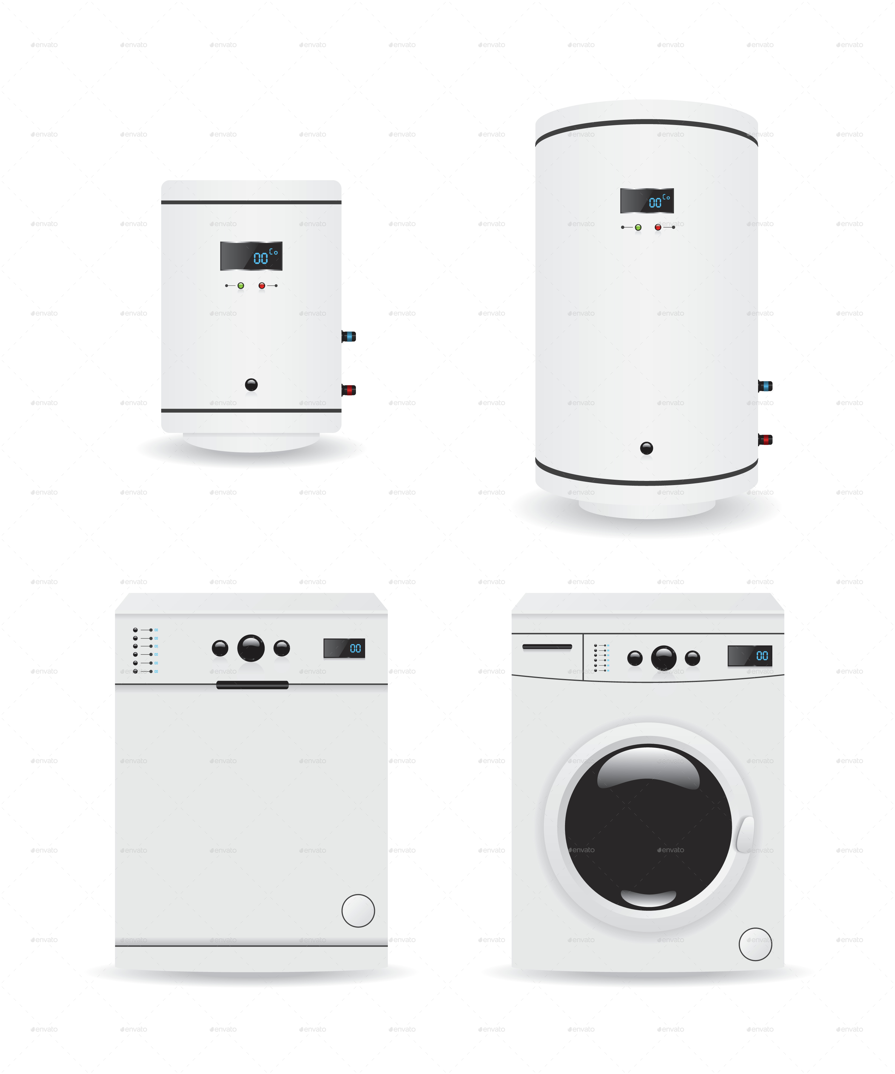 Set of Household Appliances Boiler and Washing Machine by filip323