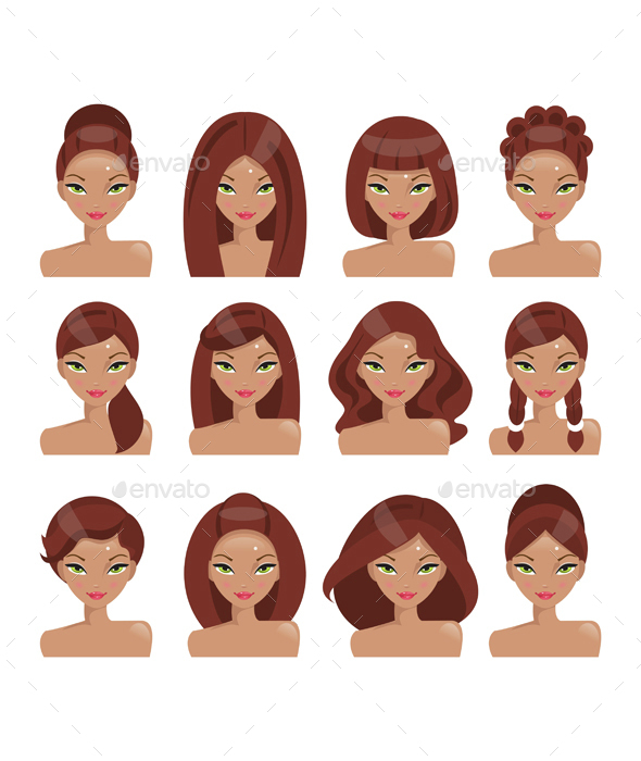 Set of Girls With Different Hairstyles - People Characters