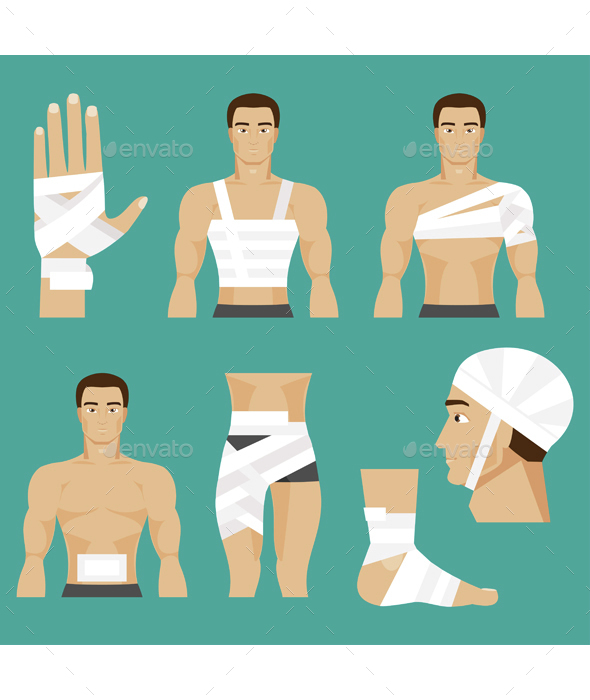 Medical Set Bandaged Body Parts - Health/Medicine Conceptual