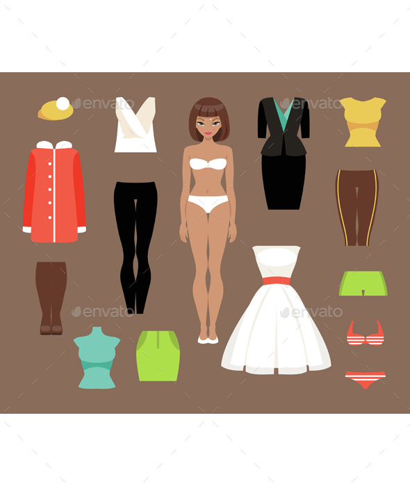 Paper Doll And a Set of Clothes - People Characters