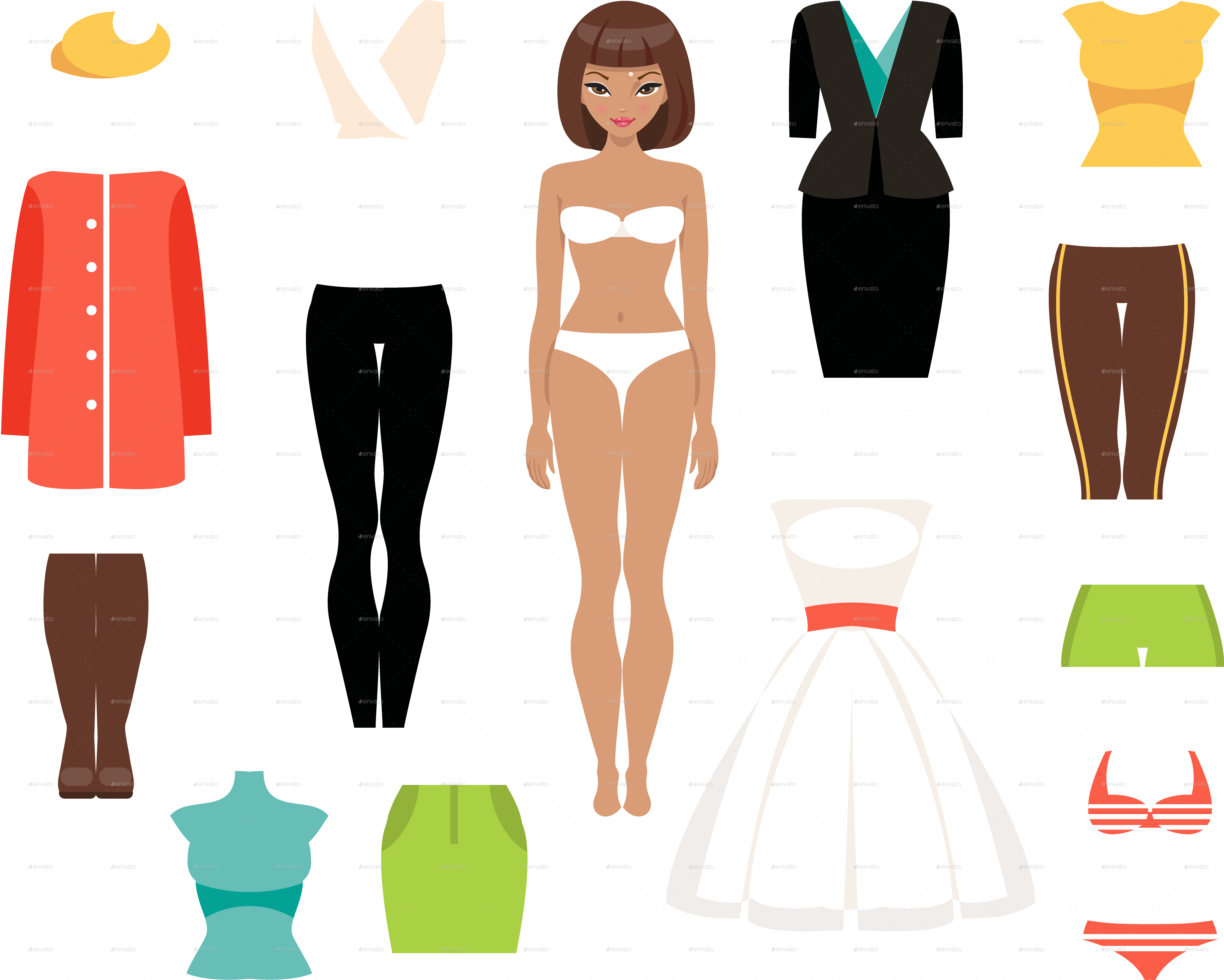 Paper Doll And A Set Of Clothes By Artbesouro Graphicriver