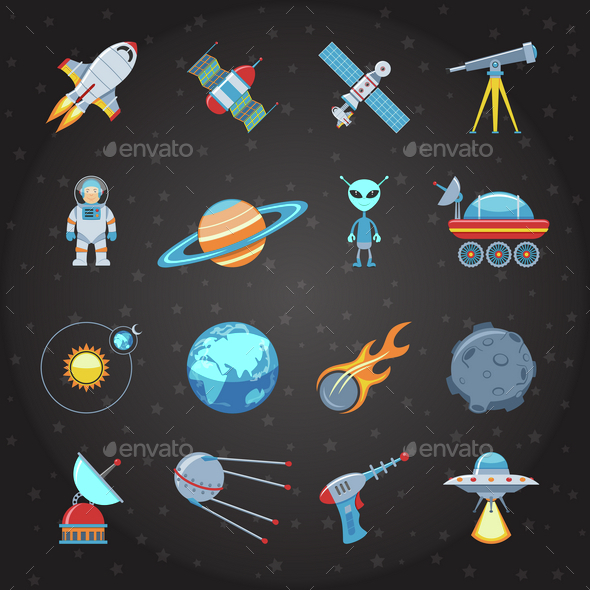 Space And Astronautics Flat Icons Set - Technology Conceptual