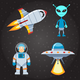 Space And Astronautics Flat Icons Set - GraphicRiver Item for Sale