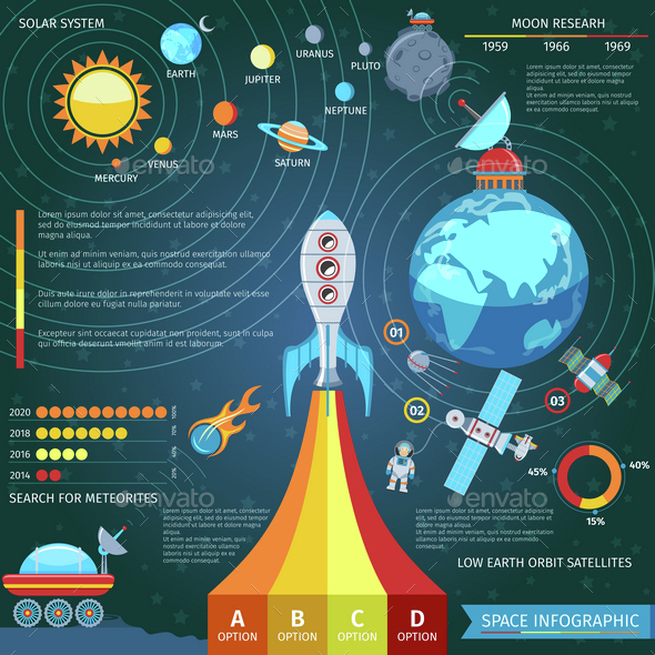 Colorful Space And Astronomy Infographics - Technology Conceptual