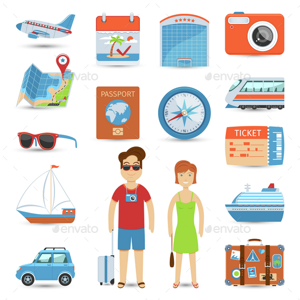 Vacation And Travel Flat Icons Set - Travel Conceptual