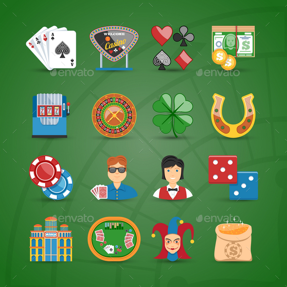 Casino And Gambling Flat Icons Set - Commercial / Shopping Conceptual