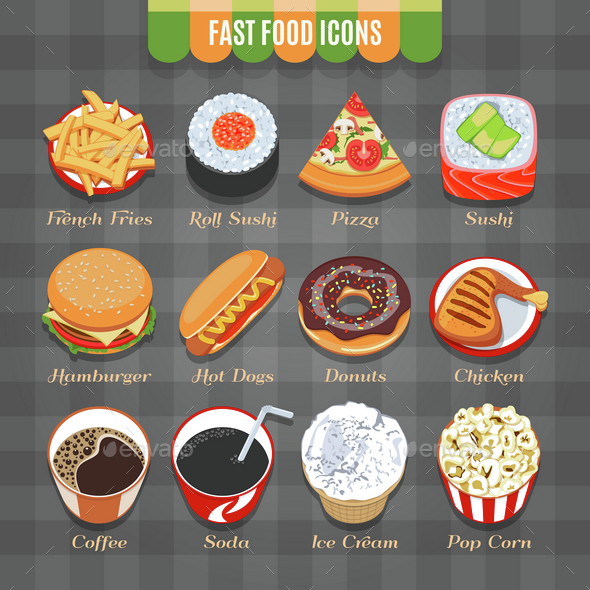 Fast Food Vector Isometric Icons Set - Food Objects