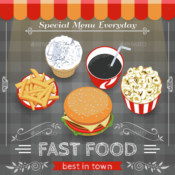 Colorful Fast Food Menu Poster - Food Objects