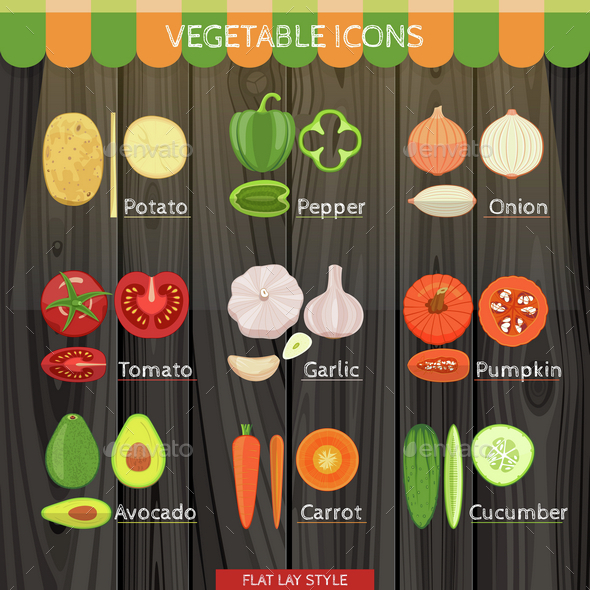 Colorful Vegetables Icon Set In The Flat Lay Style - Food Objects