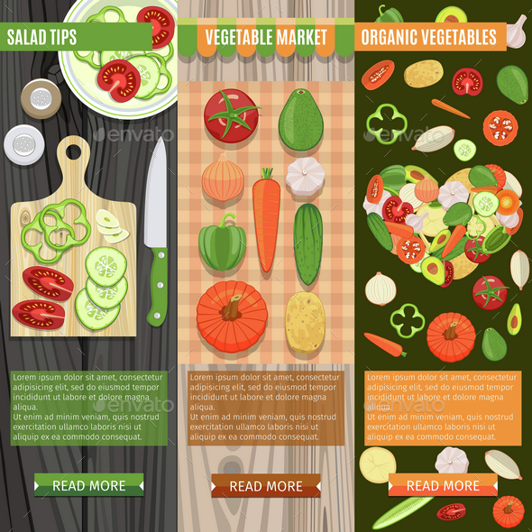 Colorful Fresh Vegetables Banners Set - Food Objects