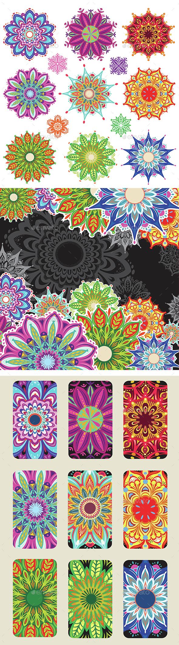 Set of Round Ornament Patterns - Decorative Symbols Decorative