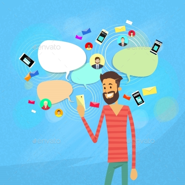Man Chatting Texting, Social Network Communication - People Characters