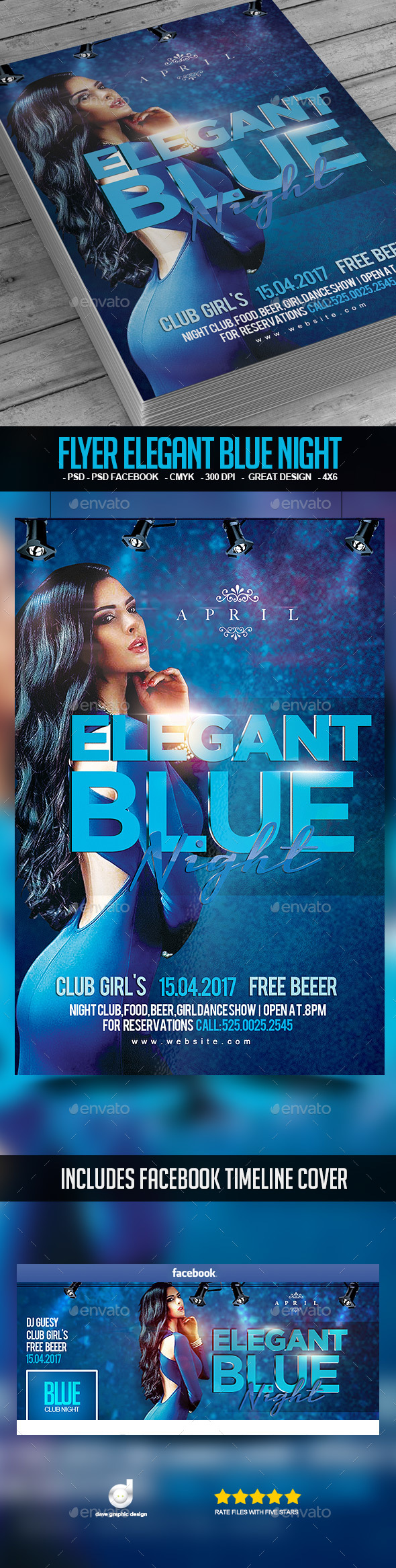 Flyer Elegant Blue Night - Clubs & Parties Events